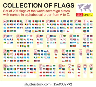 World flags. Set of 297 world Flags of sovereign states with names. Vector illustration.