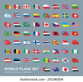 World Flags Set Painted with a Brush.