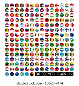 World flags set, round icons with shadow isolated vector illustration. 10 eps
