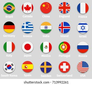 World flags set, round icons with shadow isolated vector illustration