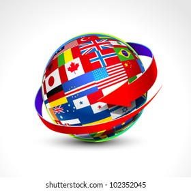 Flags globe images stock photos vectors shutterstock world flags sphere vector illustration freerunsca Image collections