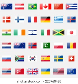 World flags vector collection. 36 detailed glossy icons. Correct proportions and color scheme.