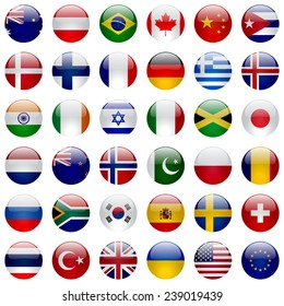 World flags vector collection. 36 high quality round glossy icons. Correct color scheme.