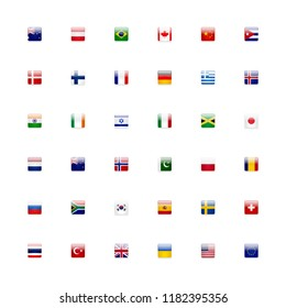World flags vector icon set. Shiny glossy small square flag icons language button concept.
