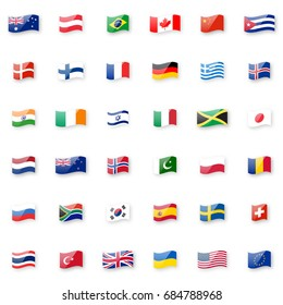 World flags vector icon set. Shiny glossy small waving flag icons for your design.