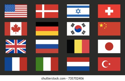 World flags vector set. World flags icons isolated on black background. Design elements