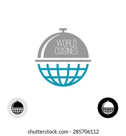 World food concept logo. Earth globe with meal cap at the top.