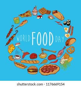 World food day banner. Hand drawn foods illustration