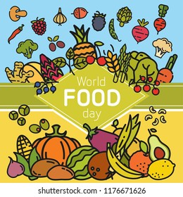 World FOOD day banner. Vegetables and fruits