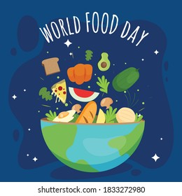 World food day concept with foods  in earth bowl isolated on blue background.