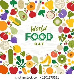 World Food Day greeting card illustration for nutrition or healthy diet with colorful flat cartoon icons. Includes vegetables and fruit.