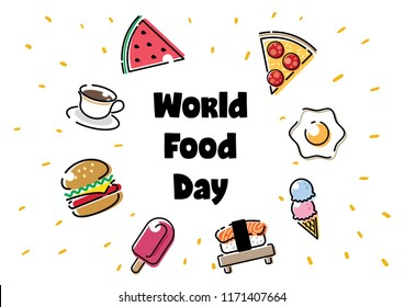 world food day illustration conceptual vector