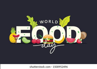 World Food Day illustration vector is suitable for social media, banner , poster , Flyer and related with food
