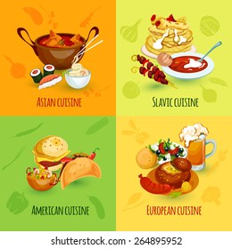 World food design concept set with asian slavic american european cuisine icons isolated vector illustration