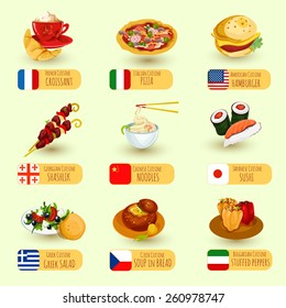 World food international cuisine decorative icons set with pizza croissant hamburger isolated vector illustration