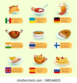 World food international cuisine dishes decorative icons set with sausage fish and chips chicken curry isolated vector illustration