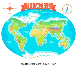 Animal geography images stock photos vectors shutterstock the world geographical map names of continents oceans north and south america gumiabroncs Images