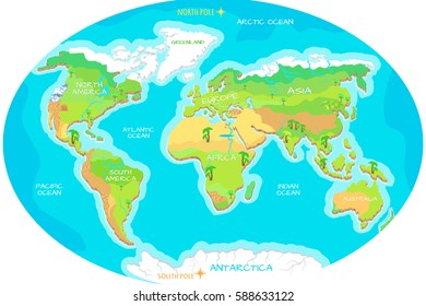 The World geographical map. Names of continents, oceans. North and South America, Europe, Asia, Australia, Africa, Antarctica. Vector illustration. Pacific Ocean. Atlantic Ocean. Indian, Arctic Ocean