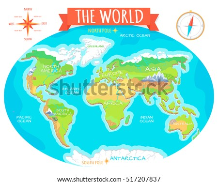 World Geographical Map Names Continents Oceans Stock Vector Royalty