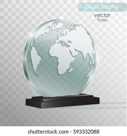 World glass award. Glass Trophy Award. Vector illustration isolated on transparent background. Realistic 3D design. Realistic vector transparent object 10 eps.
