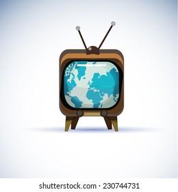 world global map on television - vector illustration
