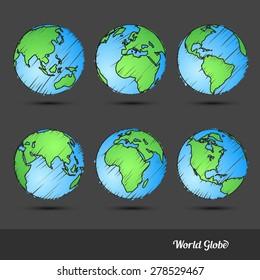 World Globe doodle set Hand drawn sketch,Vector Illustration
