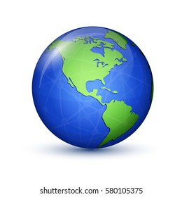 World globe icon. North and South America. Earth planet. Global communication concept. Vector illustration