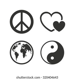 World globe icon. Ying yang sign. Hearts love sign. Peace hope. Harmony and balance symbol. Flat icons on white. Vector
