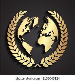 world globe with laurel wreath 3d golden symbol