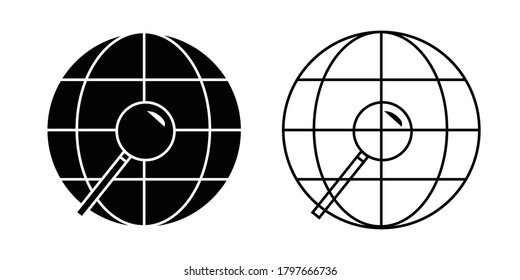 World globe with magnifying glass vector isolated illustration, black and white version