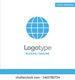 World, Globe, Map, Internet Blue Solid Logo Template. Place for Tagline. Vector Icon Template background