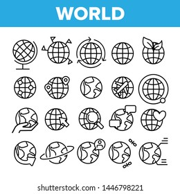 World, Globe, Planet Earth Vector Linear Icons Set. Traveling Around Planet, Chatting With Foreigners. Worldwide Web Outline, Lineart. World Travel, Rotation And Communication Thin Line Illustration