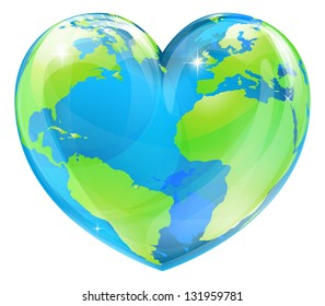 A world globe in the shape of a heart symbol. Concept for loving travel, or loving the world and caring for the environment or similar