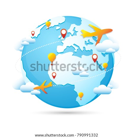 World globe travel around world tourism stock vector royalty free world globe travel around the world tourism vector icon blue map famous continents in the world gumiabroncs Gallery
