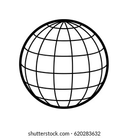 World / globe vector icon logo. 3D Sphere. Wireframe.