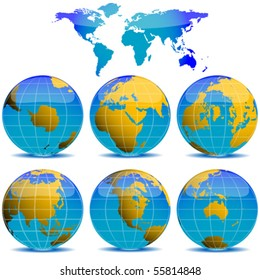 world globes collection against white background, abstract vector art illustration
