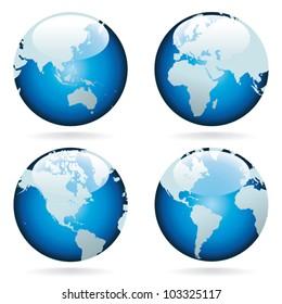 World globes - vector.