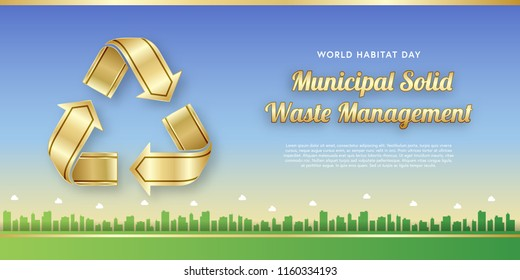 World habitat day banner template for municipal solid waste management theme. Background of dusk sky with silhouettes of buildings and gold recycling symbols