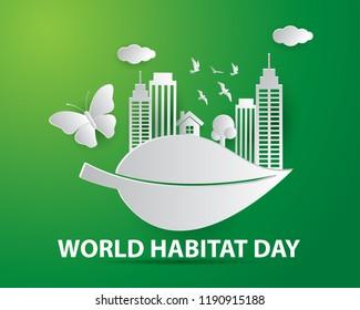 world habitat day illustration world habitat day illustration vector world habitat day paper art illustration vector