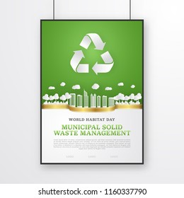 World habitat day poster template for municipal solid waste management theme. Papercut vector with buildings, trees and recycling symbol. Green background with a golden ribbon in the middle