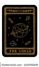 The World. Hand drawn major arcana tarot card template. Tarot vector illustration in vintage style with mystic symbols, crystals and line art stars. Witchcraft concept for tarot readers