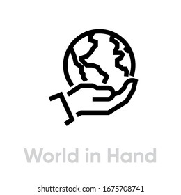 World in hand globe earth icon. Editable line vector. The palm of a man holds the globe with the contours of the continents. Single pictogram.