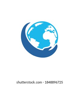 World hand logo. Save world logo design. Global care logo concept.