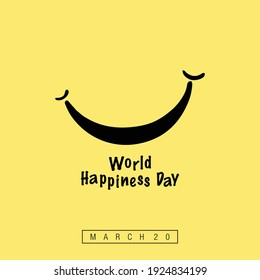 World Happiness Day with Stylish Smile Vector. International Day of Happiness Day.