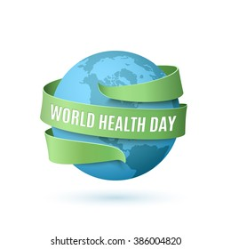 World Health Day, background with blue globe and green ribbon around, isolated on white background. Vector illustration.
