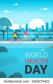 World Health Day Background With Couple Riding Bike In Park Healthcare Holiday Banner
