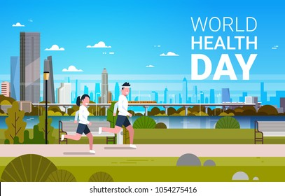 World Health Day Background With Man And Woman Jogging Healthcare And Sport Holiday Banner
