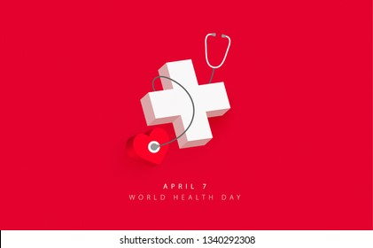 World health day banner design with 3D elements on red background.