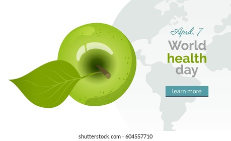 World health day banner. Vector illustration with green apple, map and text