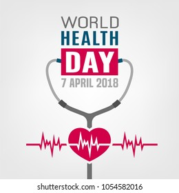 World health day concept. 7 April 2018. Medicine and healthcare image. Editable vector illustration in red, blue and grey colors isolated on a white background.
